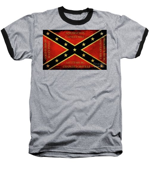 Confederate Battle Flag With Battles Baseball T-Shirt