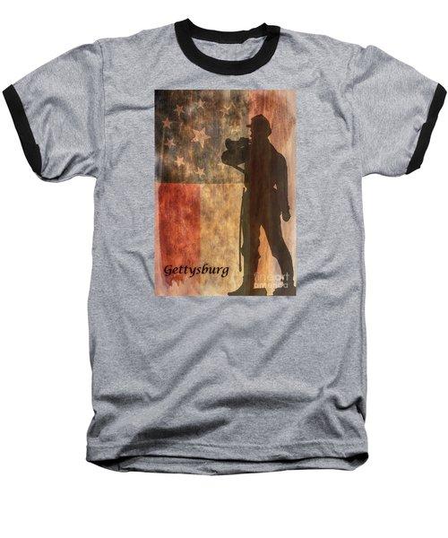 Confederate Flag And Bugler Gettysburg  Baseball T-Shirt by Randy Steele