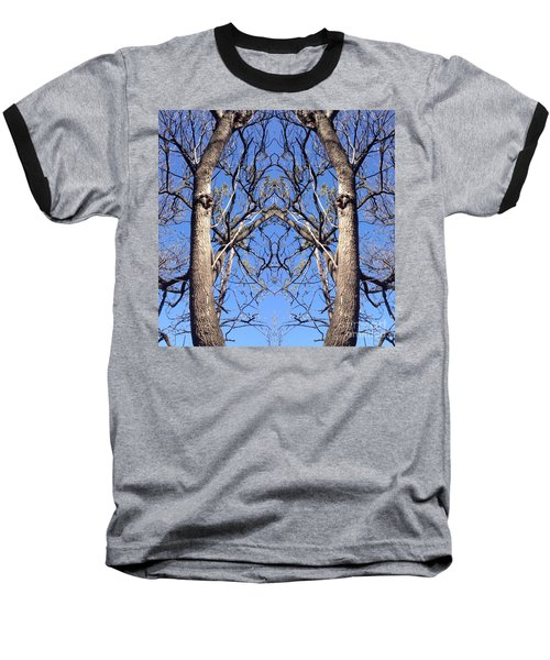 Conjoined Tree Collage Baseball T-Shirt by Nora Boghossian