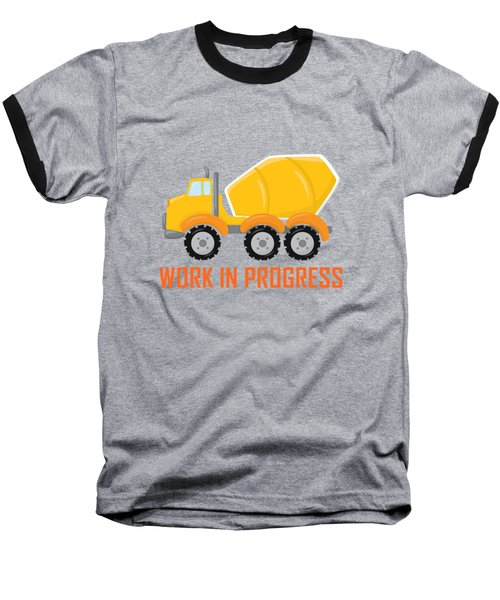 Construction Zone - Concrete Truck Work In Progress Gifts - Grey Background Baseball T-Shirt