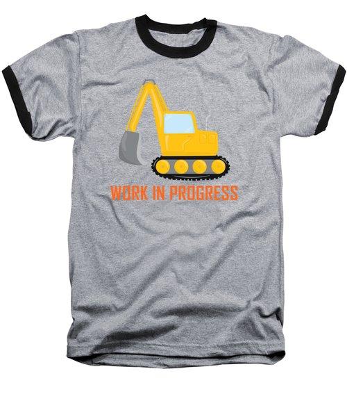 Construction Zone - Excavator Work In Progress Gifts - Grey Background Baseball T-Shirt
