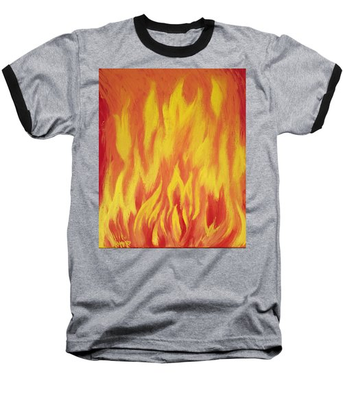 Baseball T-Shirt featuring the painting Consuming Fire by Antonio Romero