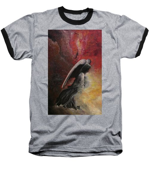 Baseball T-Shirt featuring the painting Contemplative Angel by Mary Ellen Frazee
