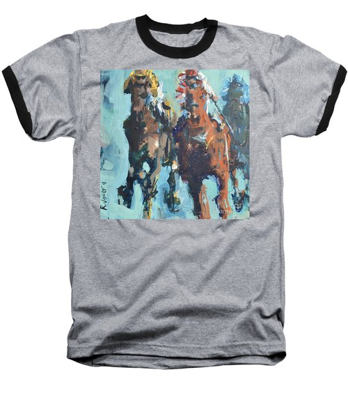 Contemporary Horse Racing Painting Baseball T-Shirt by Robert Joyner