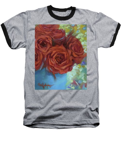 Contemporary Red Roses With Confetti Background Baseball T-Shirt