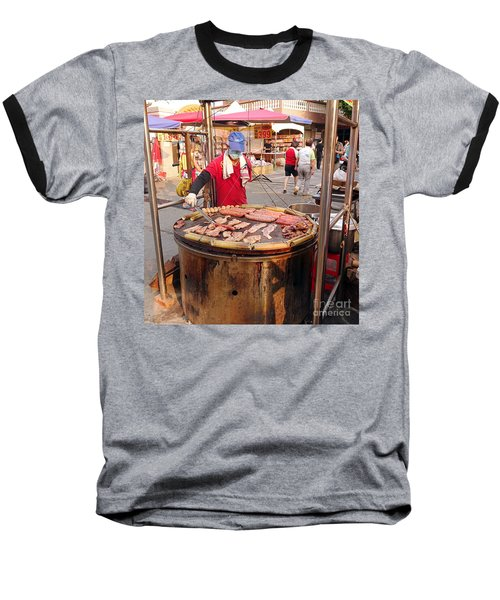 Baseball T-Shirt featuring the photograph Cooking Meat And Eggs On A Huge Grill by Yali Shi