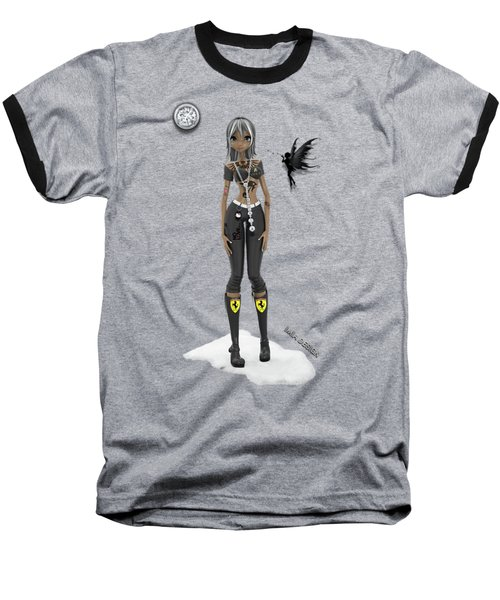 Cool 3d Manga  Girl With Bling And Tattoos In Black Baseball T-Shirt