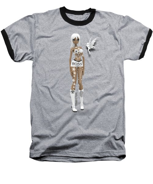 Cool 3d Manga Girl With Bling And Tattoos In White Baseball T-Shirt