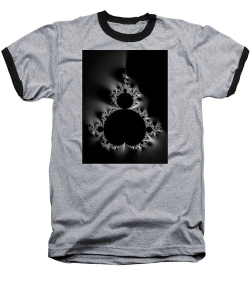 Cool Black And White Mandelbrot Set Baseball T-Shirt