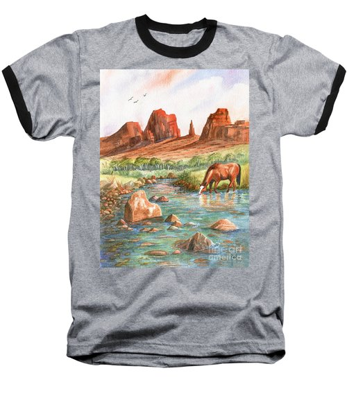 Baseball T-Shirt featuring the painting Cool, Cool Water by Marilyn Smith