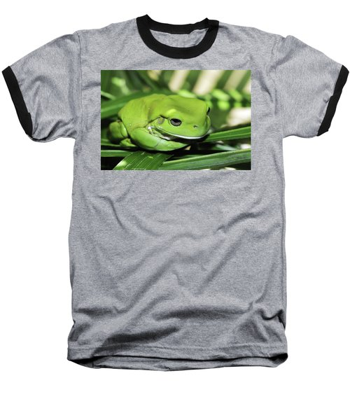 Cool Green Frog 001 Baseball T-Shirt
