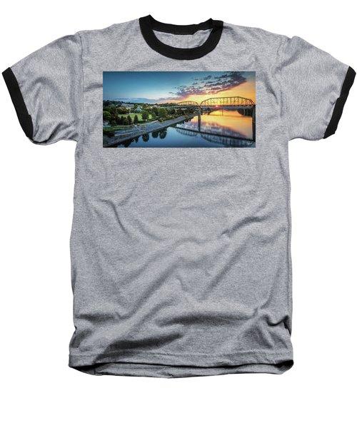 Coolidge Park Sunrise Panoramic Baseball T-Shirt by Steven Llorca