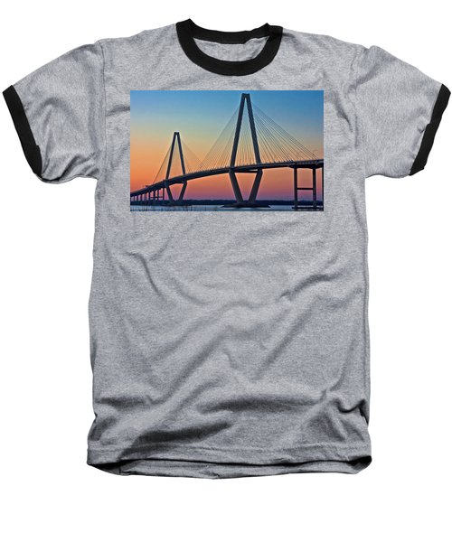 Cooper River Bridge Sunset Baseball T-Shirt by Suzanne Stout
