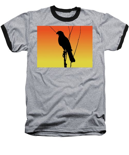 Coopers Hawk Silhouette At Sunset Baseball T-Shirt