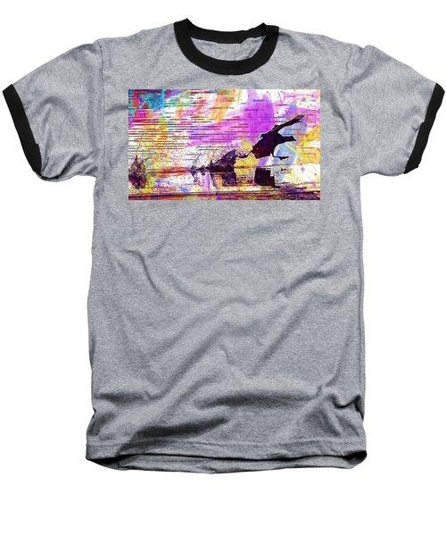 Baseball T-Shirt featuring the digital art Coot Bird Water Bird  by PixBreak Art