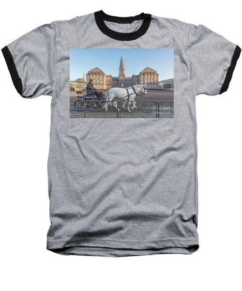 Baseball T-Shirt featuring the photograph Copenhagen Christianborg Palace Horse And Cart by Antony McAulay