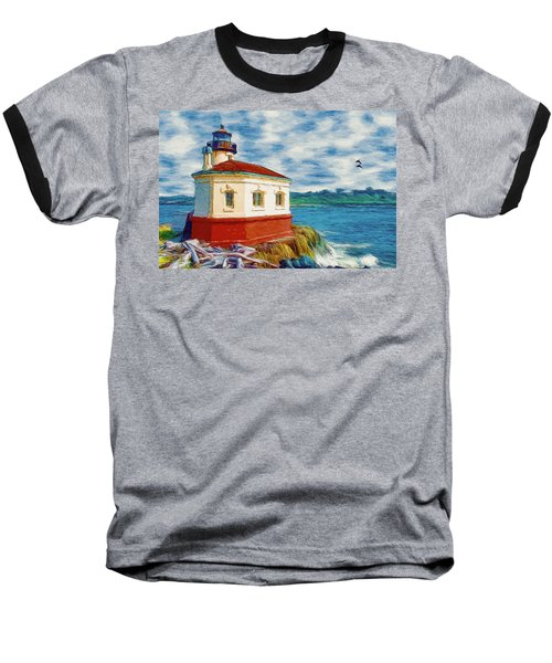 Baseball T-Shirt featuring the painting Coquille River Lighthouse by Jeff Kolker