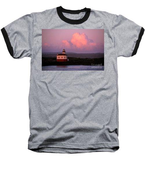 Coquille River Lighthouse Sunset Baseball T-Shirt