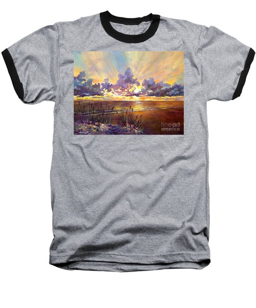 Coquina Beach Sunset Baseball T-Shirt