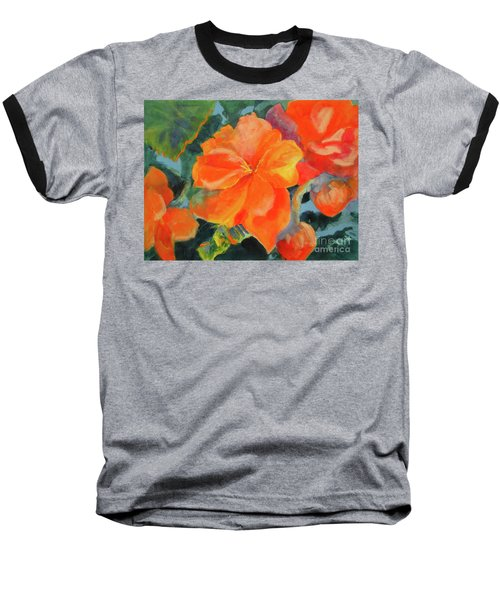 Baseball T-Shirt featuring the painting Coral Begonias by Kathy Braud
