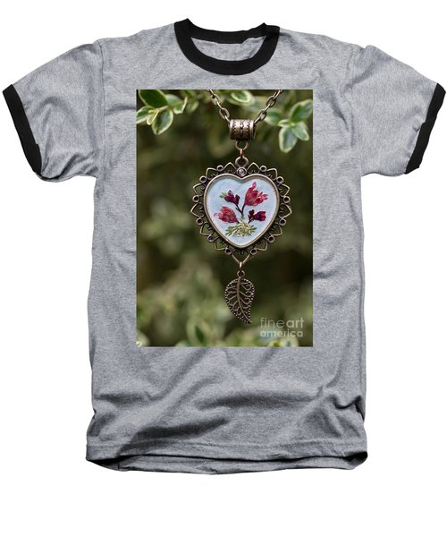 Coral Bell Pressed Flower Pendant Baseball T-Shirt