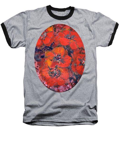 Coral Poppies Baseball T-Shirt