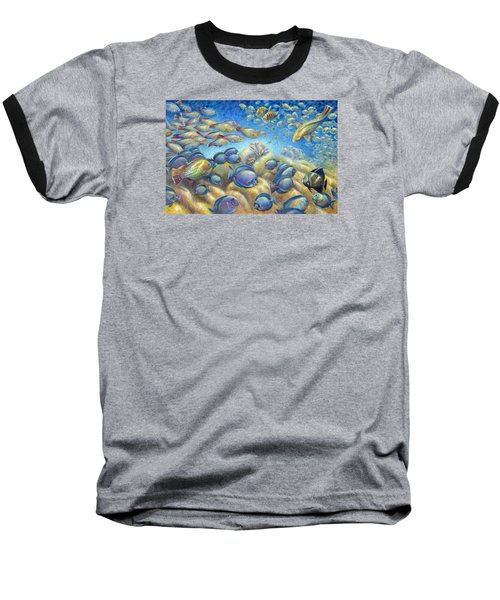 Coral Reef Life Silvers Baseball T-Shirt by Nancy Tilles