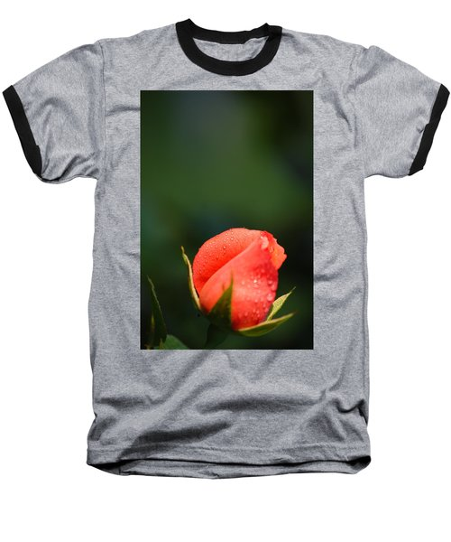 Coral Rose On Green Baseball T-Shirt by Debbie Karnes
