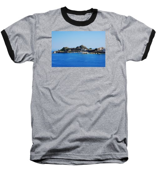 Baseball T-Shirt featuring the photograph Corfu Fortress On Blue Water by Robert Moss