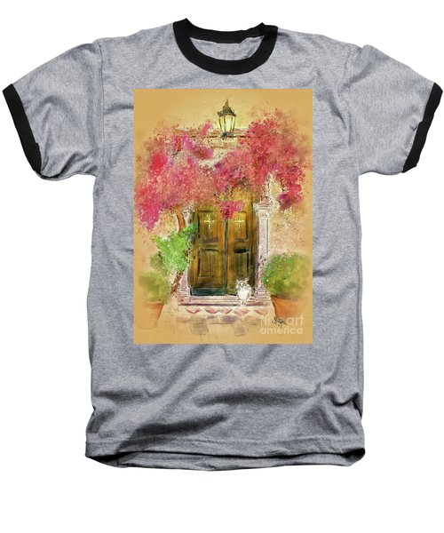 Baseball T-Shirt featuring the digital art Corfu Kitty by Lois Bryan