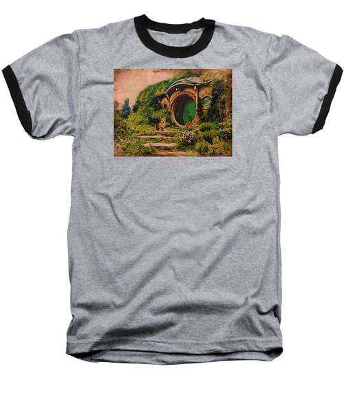 Baseball T-Shirt featuring the digital art Corgi At Hobbiton by Kathy Kelly