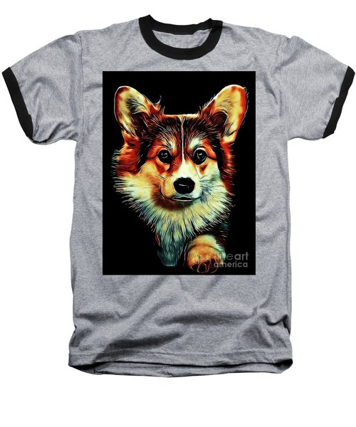 Corgi Portrait Baseball T-Shirt