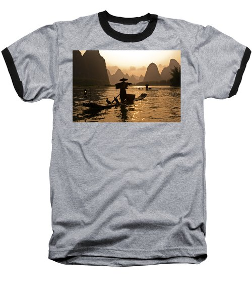 Cormorant Fisherman At Sunset Baseball T-Shirt