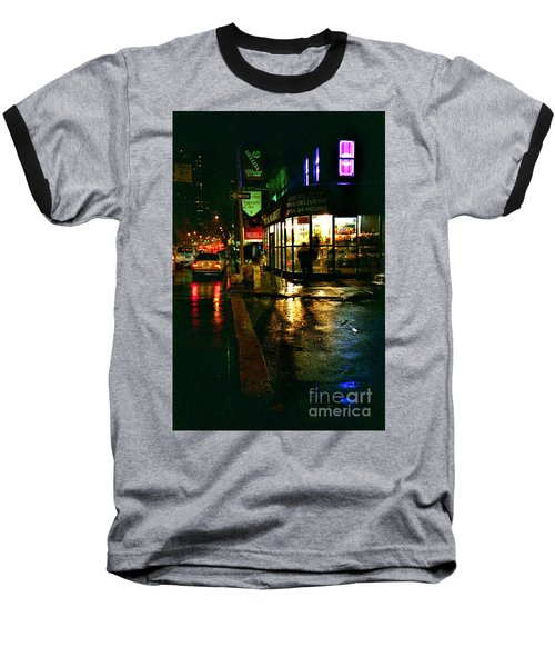 Corner In The Rain Baseball T-Shirt by Miriam Danar