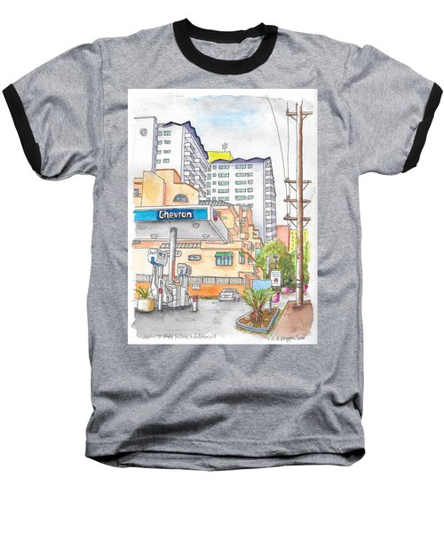 Corner La Cienega Blvd. And Hallway, Chevron Gas Station, West Hollywood, Ca Baseball T-Shirt