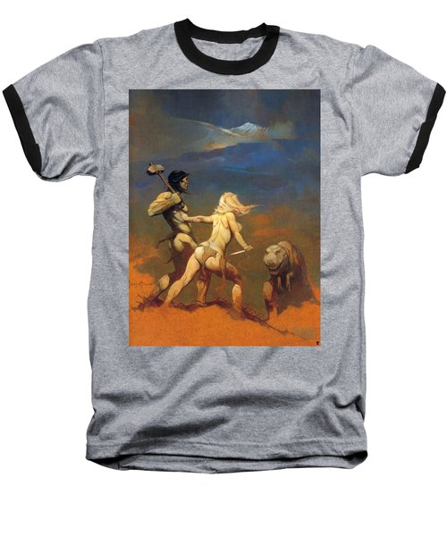 Baseball T-Shirt featuring the painting Cornered by Frank Frazetta