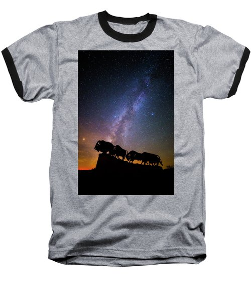 Baseball T-Shirt featuring the photograph Cosmic Caprock Bison by Stephen Stookey