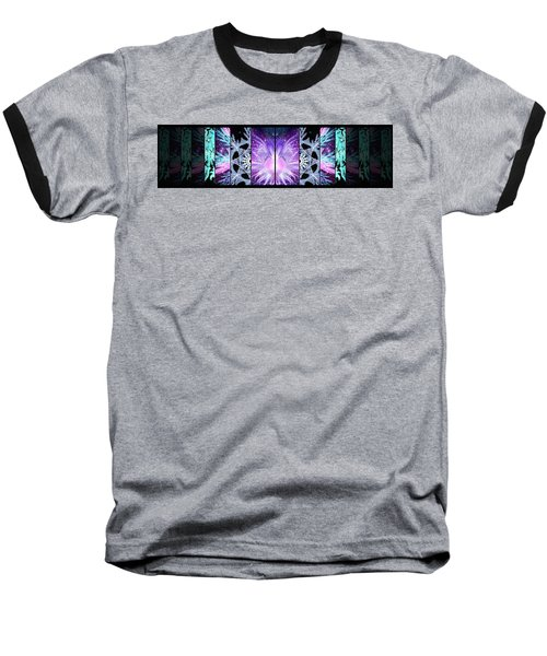 Baseball T-Shirt featuring the mixed media Cosmic Collage Mosaic Left Mirrored by Shawn Dall