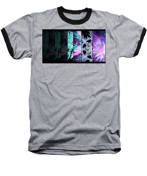 Baseball T-Shirt featuring the mixed media Cosmic Collage Mosaic Left Side by Shawn Dall