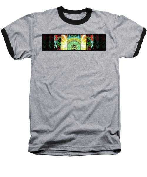 Baseball T-Shirt featuring the mixed media Cosmic Collage Mosaic Right Side Mirrored by Shawn Dall