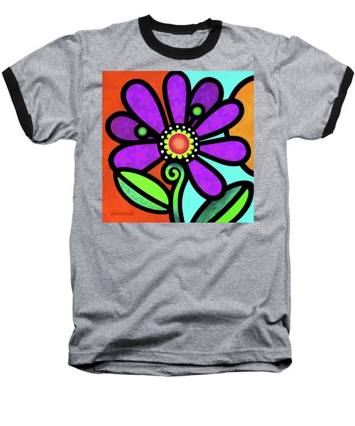 Cosmic Daisy In Purple Baseball T-Shirt