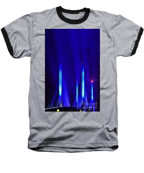 Blue Light Rays - Indian River Inlet Bridge Baseball T-Shirt