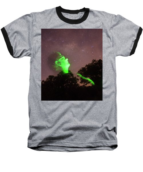 Cosmic Selfie In Green Baseball T-Shirt by Carolina Liechtenstein