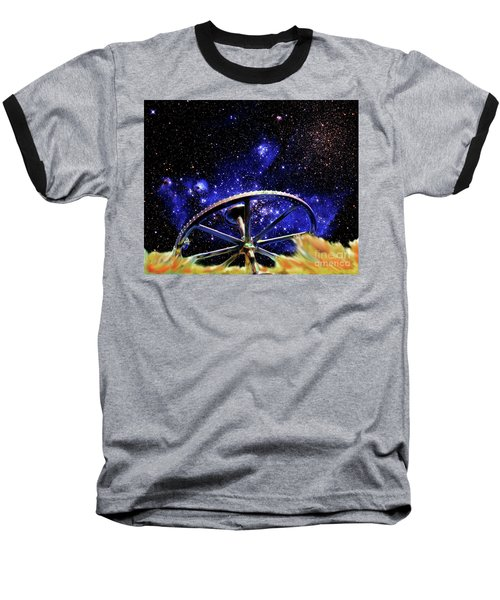 Cosmic Wheel Baseball T-Shirt by Jim and Emily Bush