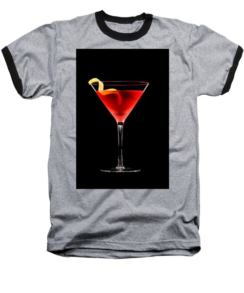 Cosmopolitan Cocktail In Front Of A Black Background  Baseball T-Shirt
