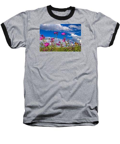 Cosmos Sky Baseball T-Shirt by Alana Thrower