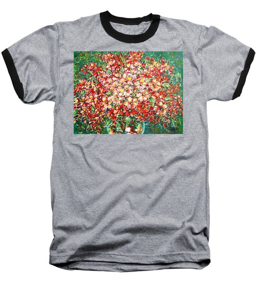 Baseball T-Shirt featuring the painting Cottage Garden Flowers by Natalie Holland
