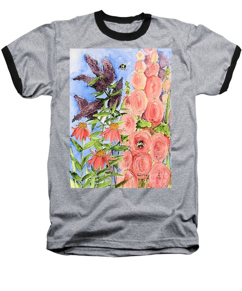 Cottage Garden Hollyhock Bees Blue Skie Baseball T-Shirt