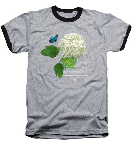 Cottage Garden White Hydrangea With Blue Butterfly Baseball T-Shirt by Audrey Jeanne Roberts