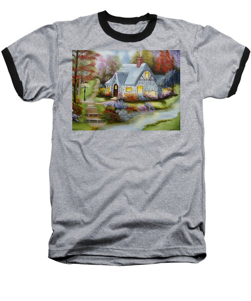 Cottage In Fall Baseball T-Shirt